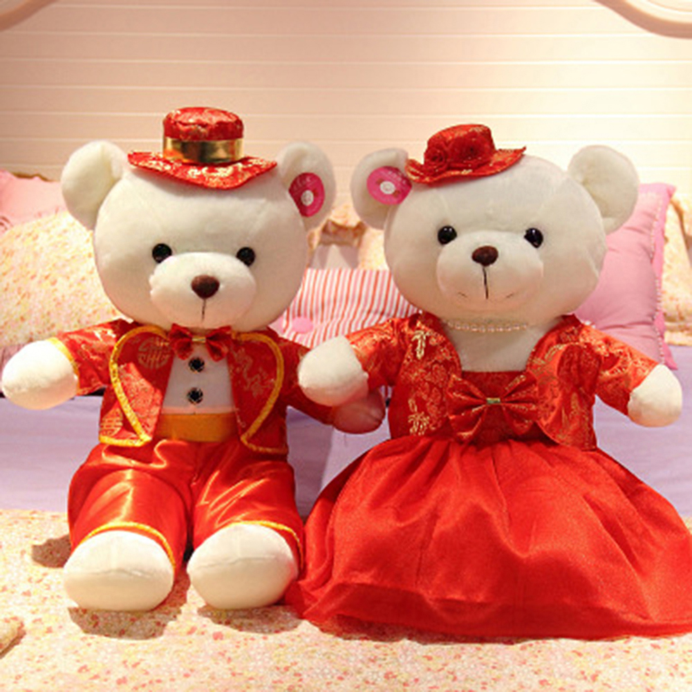 Wedding Teddy Bear Couple Wearing Chinese Red Costumes Perfect Gift
